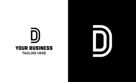 Letter D minimal vector logo. Icon mark design template