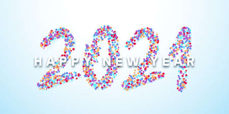 Happy New Year 2021 with calligraphic text made of colorful confetti. Vector illustration background for new year's eve and new year resolutions and happy wishes 矢量图像