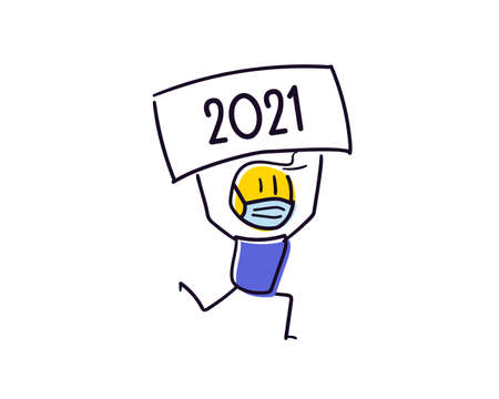 Cute little character with face mask because of the coronavirus pandemic announcing the new year approaching. Holding a 2021 board above his head. Vector doodle illustration