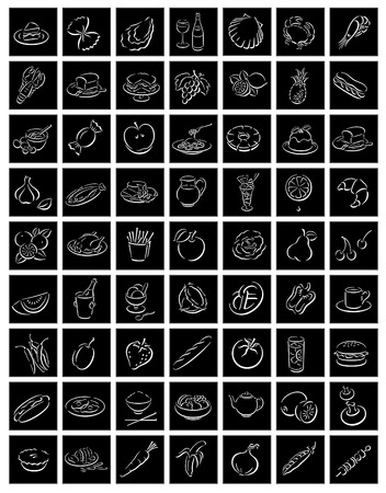 black square buttons with white food symbols Vectores