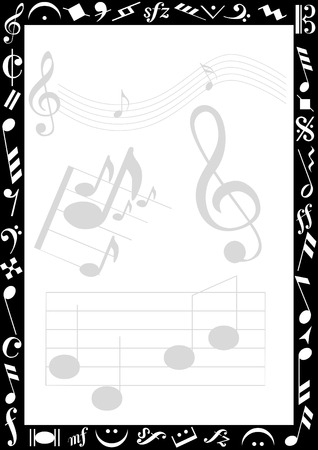 background with transparent music signs and a black border with white music symbols