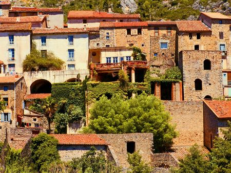 vence: roquebrun, a little vinegrower village in the languedoc