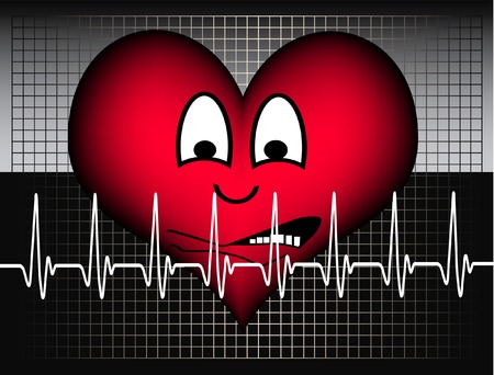 red heart on a grey grid and a cardiogram line is looking afraid