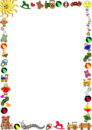 background with colorful border out of toys