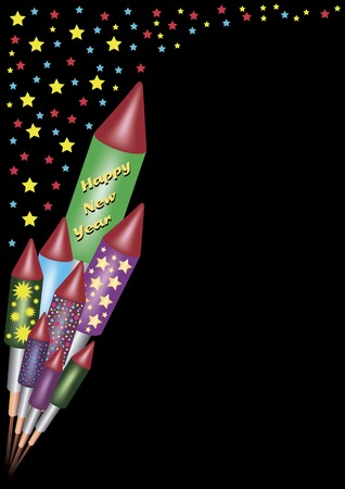 colorful bunch of bottle rockets on a black background