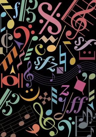 soul music: black background with colored music signs Illustration