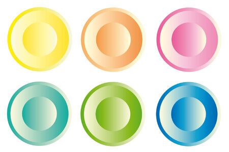webdesigner: six colored plastic buttons