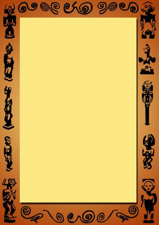 plastic art: yellow background with a brown gradient border with black african figures and signs