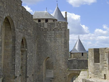 southern europe: A part of the medieval best preserved cite of Carcassonne in the Languedoc, South France
