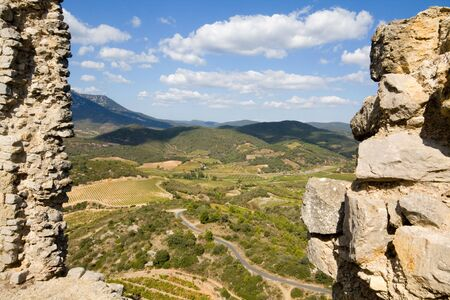 impregnable: View from Chateau Aguilar in the champaign of the languedoc, south france Stock Photo