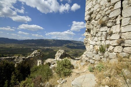 impregnable: View from Chateau Aguilar, south france, in the champaign of the Languedoc.