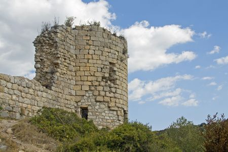 impregnable: Part of the ruins of Chateau Aguilar, one of the Cathar Castles in the languedoc, south france