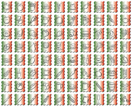 aperitif: collection of squares in the italian colors with food symbols
