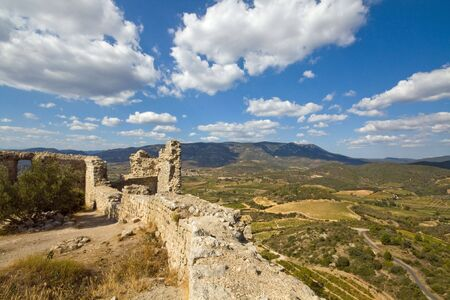 impregnable: Panoramic view from chateau aquilar, one of the cathar-castles in the languedoc, in the champaign of the languedoc Stock Photo