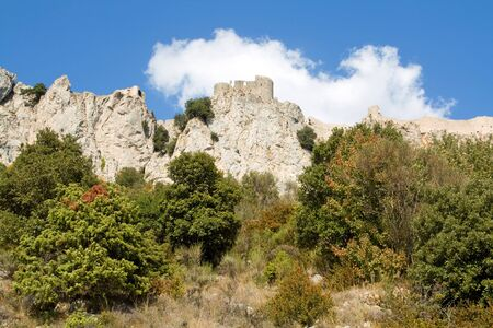 impregnable: General View of Chateau Peyrepertuse, Languedoc, the biggest of the Chatar Castles in the Languedoc, built on a hilltop Stock Photo