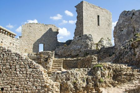 The former patio of Chateau Peyrepertuse, the biggest of the Cathar Castles in the Languedoc, built on a mountain ridge