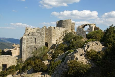 former: The former patio of Chateau Peyrepertuse, the biggest of the Cathar Castles in the Languedoc, built on a mountain ridge