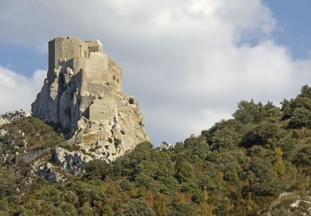hilltop: Chateau Queribus, one of the Cathar Castles in the Languedoc, built on a hilltop