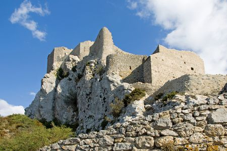 impregnable: Chateau Queribus, one of the Cathar Castles in the Languedoc, built on a hilltop