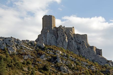 Chateau Queribus, one of the Cathar Castles in the Languedoc, built on a hilltop