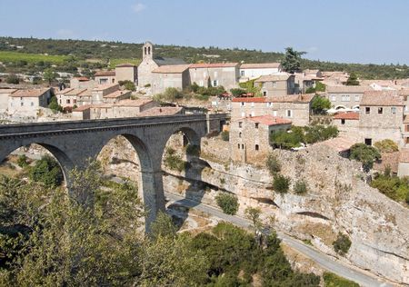 The popular old winegrower village Minerve in the Languedoc in South France Stock Photo