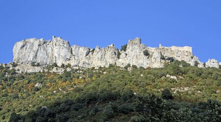 impregnable: General view of chateau peyrepertuse, one of the Cathar Castles in the Languedoc, built on a high mountain ridge Stock Photo