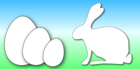 aquarell: easter card with white rabbit and big white eggs Stock Photo