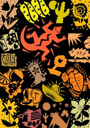 colurful: colurful background with mexican signs and symbols