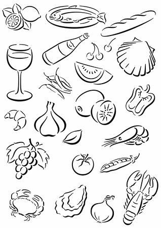 white background with black food symbols Foto de archivo
