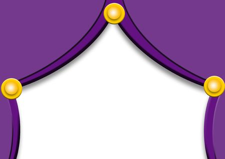 purple theater curtain with golden balls photo