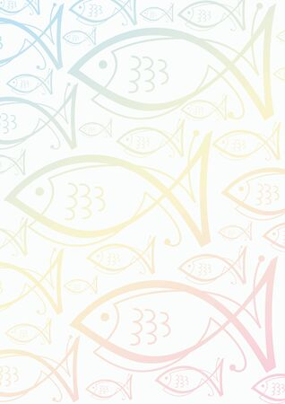 white background with pastell colored fish symbols