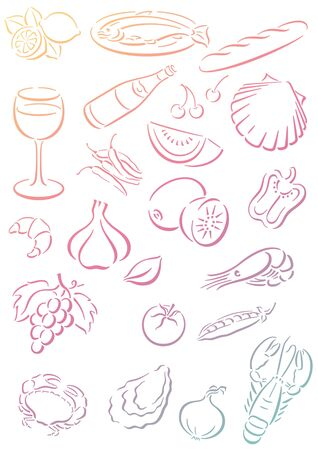 white background with pastell colored food symbols