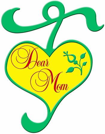 plastic heart: decorative green plastic heart with yellow and the red lettering  Stock Photo