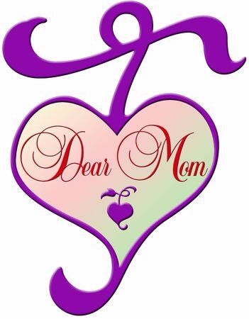 dear: delightful decorative purple heart with gradient colored center and the lettering Dear Mom