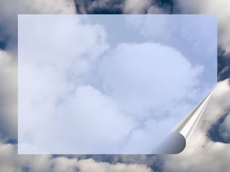 white clouds in the blue sky and a transparent frame with a rolled edge photo