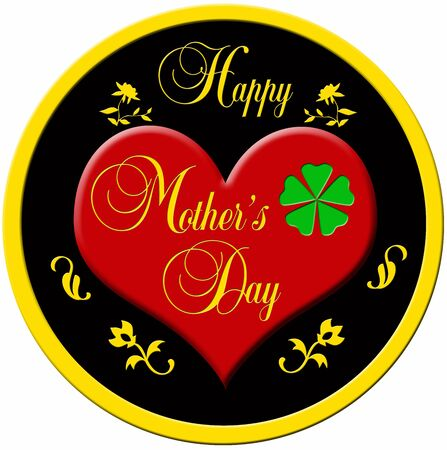 Decorative badge with a red plastic heart and a golden border with the decorative lettering  photo