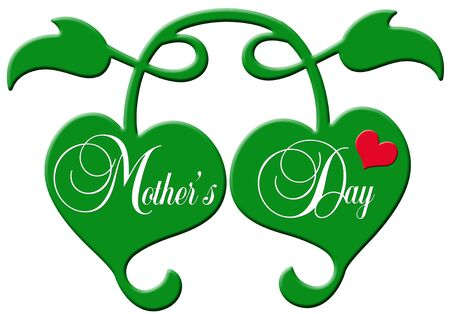 gratulation: Two decorative green plastic hearts with the lettering  Stock Photo