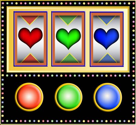 las vegas lights: Colorful slot machine with three different colored hearts