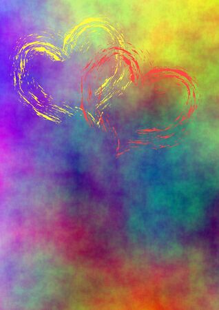 aquarell: aquarell colored background with two painted hearts