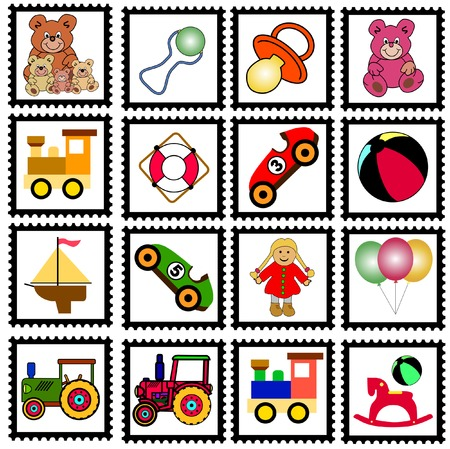 collection of colorful stamps with toys Vectores