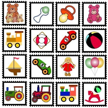 bateau de course: collection de timbres color�s avec des jouets