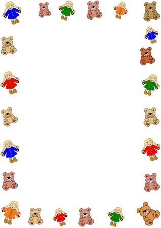 colorful border out of bears and puppets. Designed for content to be added Vectores