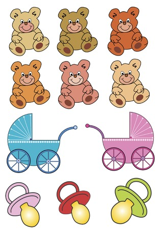 collection of teddys, baby buggies and soothers Vector