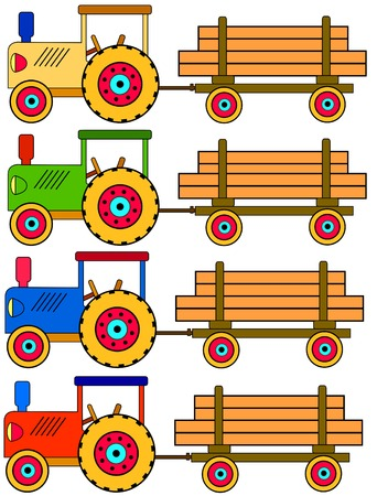 four colorful toy tractors