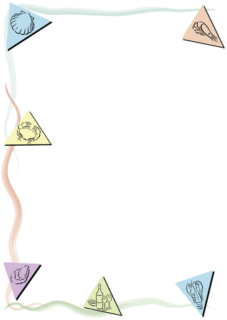 White background with colored triangles and food symbols