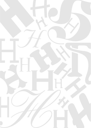 typefaces: Background with the Letter H in different typefaces. Useful for many design jobs birthday cards greetings offers advertisement Illustration