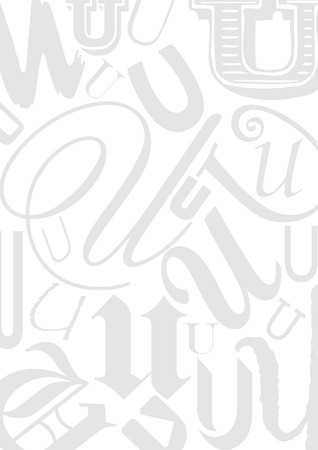 typefaces: Background with the Letter U in different typefaces. Useful for many design jobs birthday cards greetings offers advertisement
