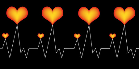 three red hearts on black background with a white cardiogram-line Vector