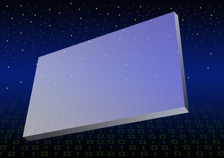 posting: blue gradient plastic billboard floating in space