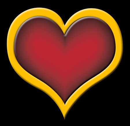plastic heart: big red plastic heart with golden border on black background